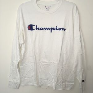 Champion Script Logo White Long Sleeve